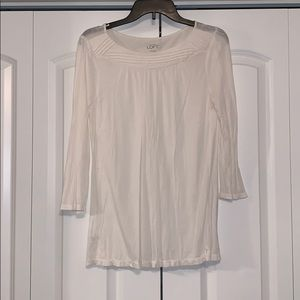 White, Loft 3/4 sleeve blouse. Size small